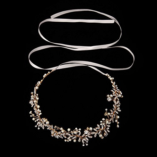 FAYBOX Handmade Crystal Rhinestones Wedding Head Band Bridal Hair Accessorie Headpieces Gold-tone