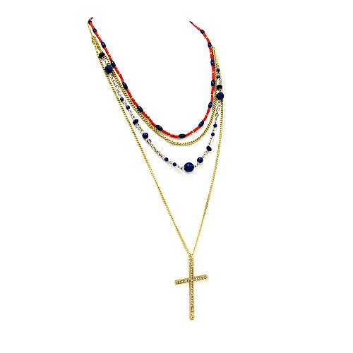 1365f 47 Cross Chain Bead Gold Plated Blue Orange Necklace