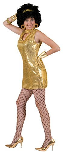 Funny Fashions Womens Retro Gold Disco Dress Theme Party Halloween Costume