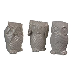 "Decorative Ceramic Owls - Hear, See, Speak No Evil - Set of 3 - 4"" Wide and 6"" Tall"
