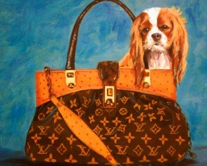 CAVALIER KING CHARLES SPANIEL IN LOUIS VUITTON HANDBAG PAINTING GICLEE