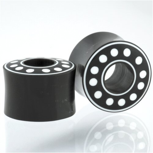Pair of Horn Double Flared Ball Bearing Plugs With Bone Inlay: 9/16