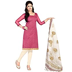 Women Icon Chanderi Pink Printed Women's Chudidar WICKFBGAPS46012