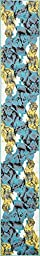 Modern Abstract 2 feet by 13 feet (2\' x 13\') Runner Metro Turquoise Contemporary Shed Free Easy to Clean Stain Resistant Area Rug