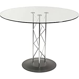 36 Glass Top Trave Round Dining Table With Glass Top And Textured