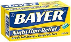 Bayer Aspirin Pain Reliever/ Fever Reducer, PM Nighttime Sleep Aid, 40-Count Coated Caplets (Pack of 4)