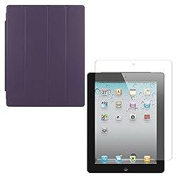 DMG Ultra Slim Magnetic Smart Shell Stand Cover Case for Apple iPad 2/3/4 (Purple) + Matte Anti-Glare Screen Protector