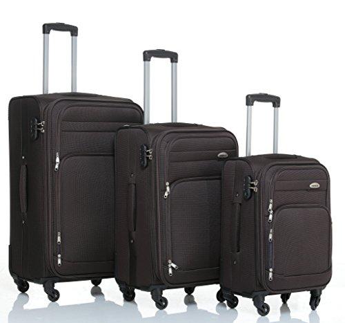 Set di 3 trolley a 4ruote, set da viaggio in plastica, articolo 8005, in 5colori marrone Set