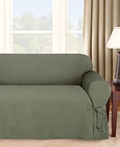 Sure Fit Logan 1-Piece Ties Sofa Slipcover, Dark Green