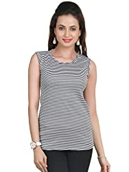 Big Tree Striped Cotton Womens Top (Size- Medium) (Color- Black)