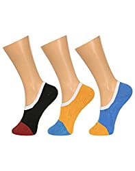 Gumber Pack of 3 Pairs of Multicoloured Solid No Show Socks(GE_LOAFER_PLAIN_TOE_DZN_ROUND_3PC)
