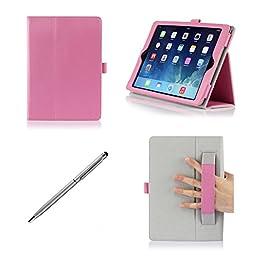 ProCase Apple iPad Air Case with bonus stylus pen - Flip Stand Leather Folio Cover for Apple iPad Air, iPad 5, iPad 5th generation, auto Sleep/Wake built-in Stand (Pink)