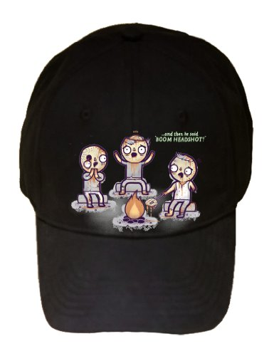 """Zombie Tales"" Around Fire Telling Stories & Roasting Brain - 100% Adjustable Cap Hat"