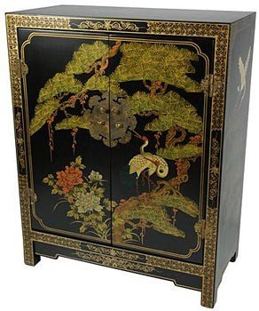 "Tall Nightstand Bedside Chest - 30"" Ming Design Lacquered Shoe Cabinet - Black w/ Pine & Crane"