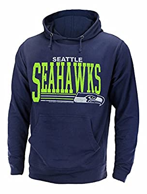 """Seattle Seahawks NFL Men's """"Fundamentals"""" Pullover French Terry Hoodie, Navy"""