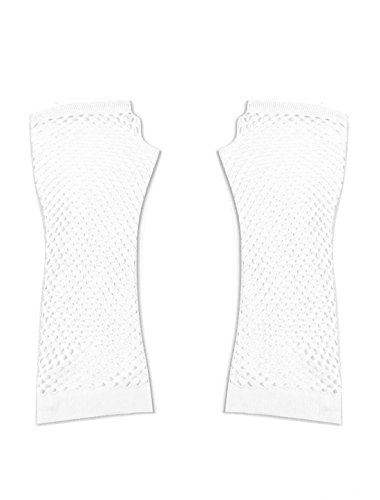 Pair White Stretchy Mesh Fishnet Elbow Fingerless Goth Arm Warmers for Lady Mesh Arm Warmers