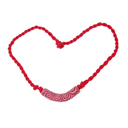 Rosallini Arc Shape Pendant Polymer Clay Red Rope 15