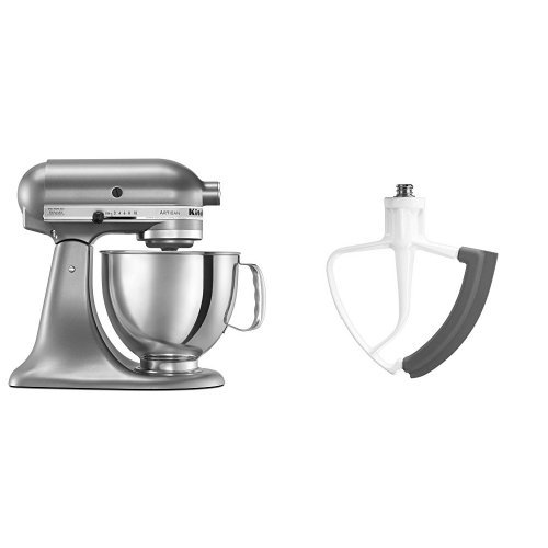 KitchenAid KSM150PSCU Artisan Series 5-Qt. Stand Mixer with Pouring Shield - Contour Silver and KitchenAid KFE5T Flex Edge Beater for Tilt-Head Stand Mixers Bundle (Kitchen Aid Stand Mixer Bundle compare prices)
