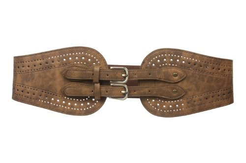 """Ladies 5"""" Wide High Waist Fashion Double Buckles Stretch Belt Size: One Size: 32"""" - 37"""" Color: Camel"""