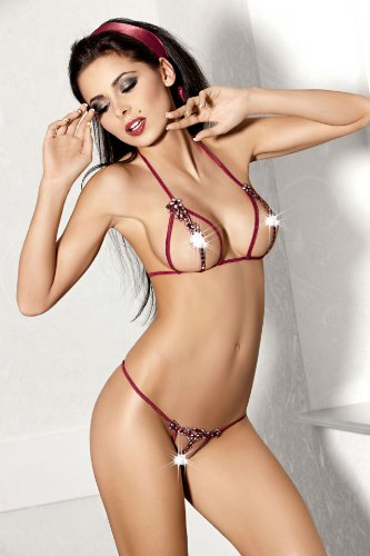 Incredibly charming set of lingerie in deep crimson colour by Axami