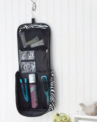 Zebra Print Travel Hanging Organizer: Makeup Or Hair Accessories