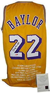 Elgin Baylor signed Los Angeles Lakers Yellow TB Prostyle Jersey w  Embroidered...