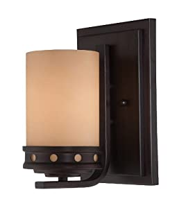 Lite Source LS-16461 Wall Sconce with Amber Glass Shades, Bronze Finish at Sears.com