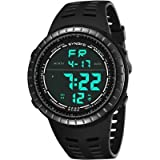 Mens Digital Sport Watch, Military Black Watches, Army Electronic Casual Wristwatch with Luminous Calendar Stopwatch Alarm EL Backlight Waterproof for Running Diving Swimming (Black) (Color: Black)