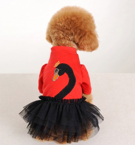 Swan Dress with Dance Tutu Skirt - For the Best Fashion Pets (L)