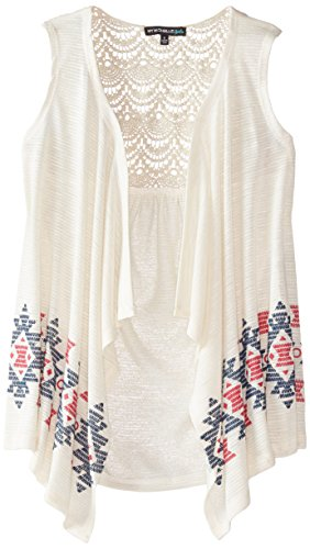 My Michelle Big Girls' Embroidered Sweater Vest with Lace Back Yoke, Natural, Medium