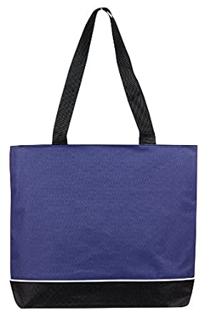 Over the Shoulder Tote with Zipper, Navy