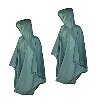 Totes 2 Pack Waterproof Rain Ponchos (Green, One Size)