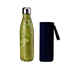 Yeevion Stainless Steel Water Bottle Insulated Hot Cold Cola Bottle Carrier Green