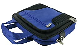 rooCASE Netbook / iPad Carrying Bag for Samsung NC110-A02 10.1-Inch Netbook Gloss Blue - Deluxe Series Dark Blue / Black