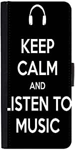 Snoogg Keep Calm and Listen to MusicDesigner Protective Flip Case Cover For Samsung Galaxy S4