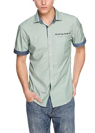 s.Oliver - 13.405.22.6663 Chemise casual Homme - Vert (brazil green 76G4) - FR : Small (Taille fabricant : Small)