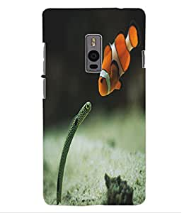 ColourCraft Snake and Fish Design Back Case Cover for OnePlus Two