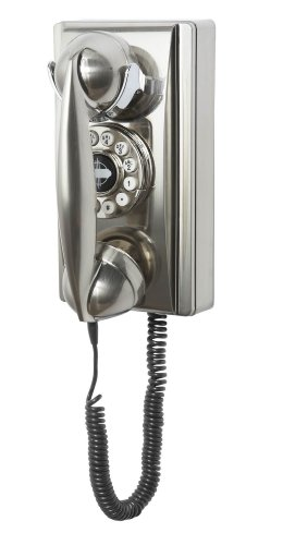 Crosley CR55-BC Wall Phone with Push Button Technology, Brushed Chrome