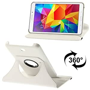 Crazy4Gadget 360 Degree Rotatable Litchi Texture Leather Case with 2-angle Viewing Holder for Samsung Galaxy Tab 4 7.0 / SM-T230 (White)