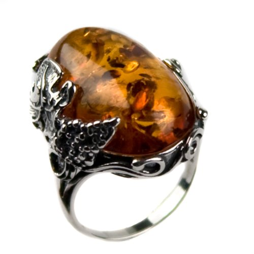 Baltic Honey Amber and Sterling Silver Large Victorian Ring Sizes 5,6,7,8,9,10,11,12