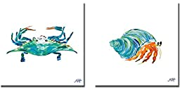 Sea Creatures I & II by Julie DeRice 2-pc Premium Gallery Wrapped Canvas Giclee Art Set (Ready-to-Hang)