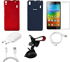 NIROSHA Tempered Glass Screen Guard Cover Case Charger USB Cable Mobile Holder for Lenovo K3 Note - Combo
