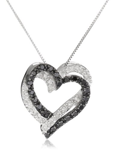 10k White Gold Double Heart Black and White Diamond