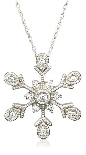 10k White Gold Diamond Snowflake Pendant (1/6 cttw, H Color, I2 Clarity)