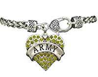 USA Army Crystal Rhinestone Heart Charm on Heavy Bracelet from From the Heart Enterprises