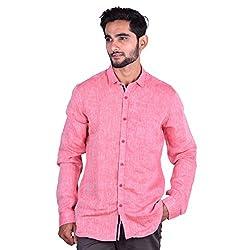 CORTOS Pink Linen Plain Regular fit casual Solid Shirt (Size: XX-Large)