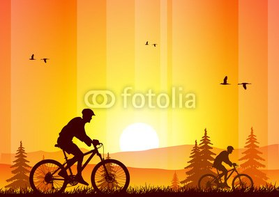 "Wallmonkeys Peel and Stick Wall Decals - Mountain Bike at Sunset - 24""W x 17""H Removable Graphic"