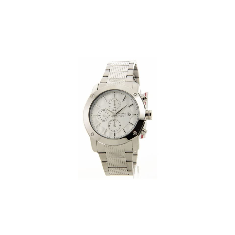 Pulsar Mens PF3665 Alarm Chronograph Silver Tone Stainless Steel Watch