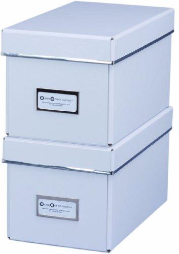 Bigso 385204801 7330061385406 Elsa Lot de 2 boîtes range-CD Blanc 28,5 x 16,5 x 15cm