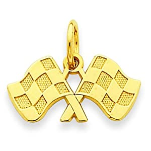 14K Yellow Gold Racing Flags Charm Pendant Jewelry